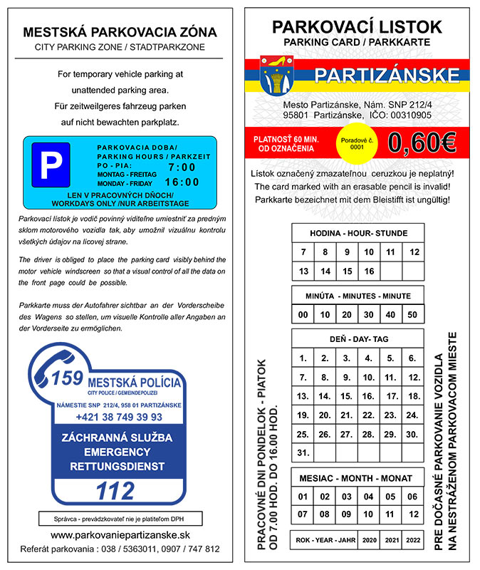 jednorázová parkovacia karta